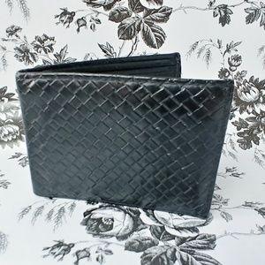 Genuine Italian Leather woven mens bifold wallet